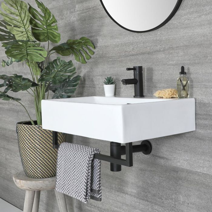 Milano Elswick - White Modern 600mm x 420mm Rectangular Wall Hung Basin with Black Towel Rail