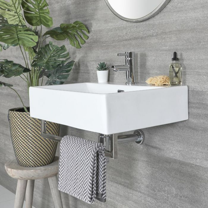 Milano Elswick - White Modern 600mm x 420mm Rectangular Wall Hung Basin with Chrome Towel Rail