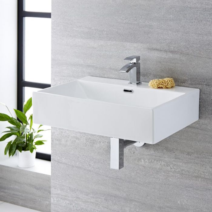 Milano Elswick - White Modern Rectangular Wall Hung Basin - 600mm x 420mm (1 Tap-Hole)