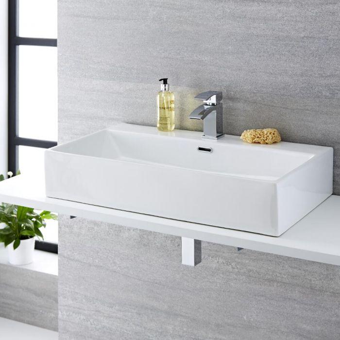 Milano Elswick - White Modern Rectangular Countertop Basin with Mono Mixer Tap - 750mm x 420mm