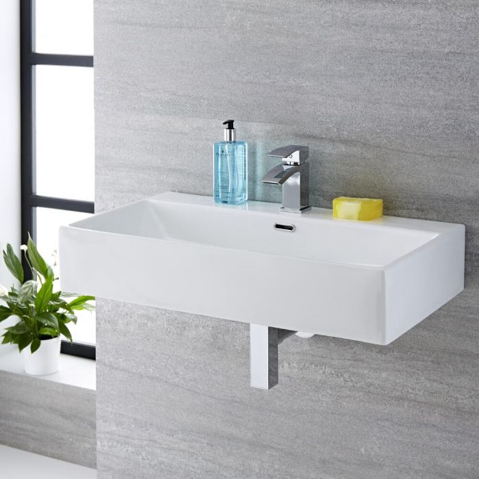 Milano Elswick - White Modern Rectangular Wall Hung Basin - 750mm x 420mm (1 Tap-Hole)