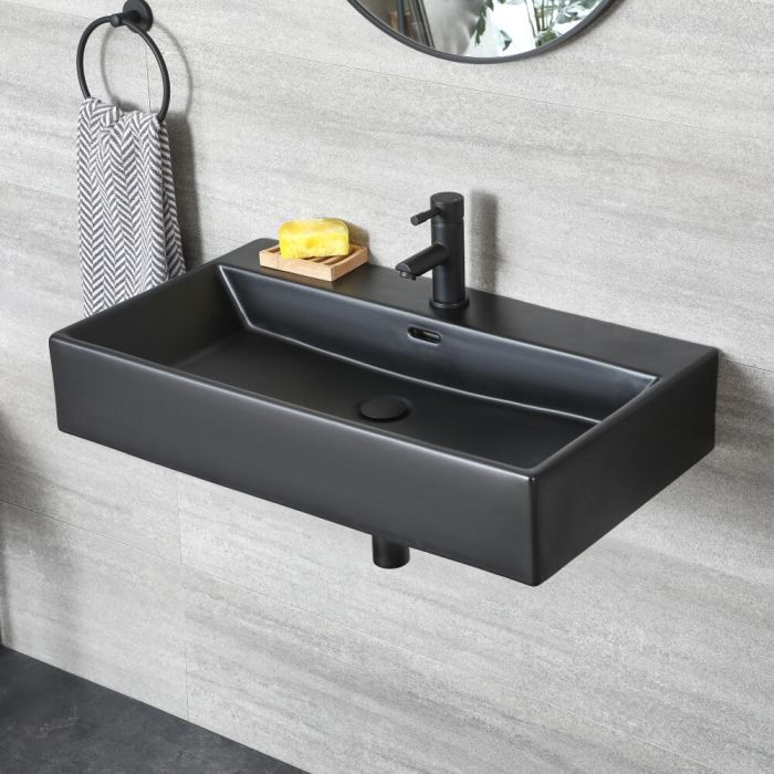 Milano Nero - Black Modern Rectangular Wall Hung Basin - 750mm x 420mm (1 Tap-Hole)