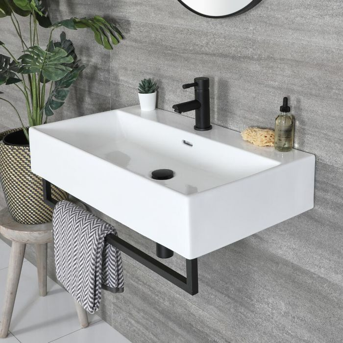 Milano Elswick - White Modern 750mm x 420mm Rectangular Wall Hung Basin with Black Towel Rail