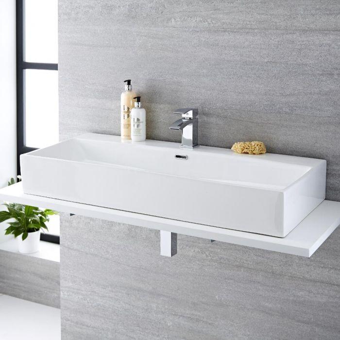 Milano Elswick - White Modern Rectangular Countertop Basin with Mono Mixer Tap - 1010mm x 425mm