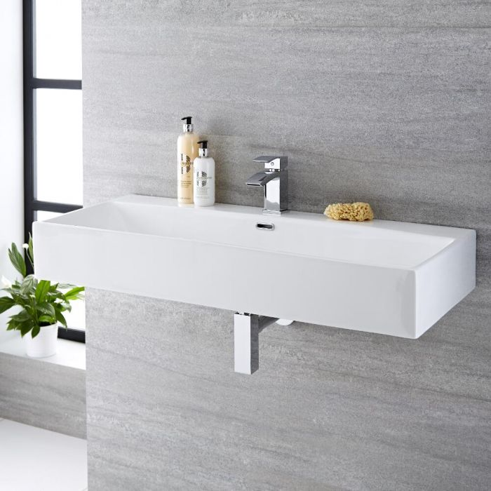 Milano Elswick - White Modern Rectangular Wall Hung Basin - 1000mm x 420mm (1 Tap-Hole)