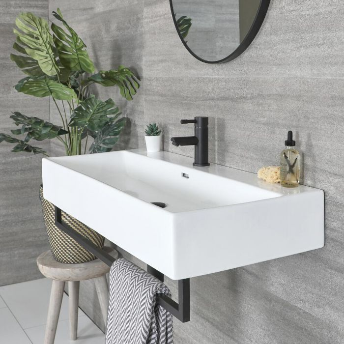 Milano Elswick - White Modern 1010mm x 425mm Rectangular Wall Hung Basin with Black Towel Rail