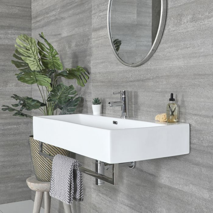 Milano Elswick - White Modern 1010mm x 425mm Rectangular Wall Hung Basin with Chrome Towel Rail