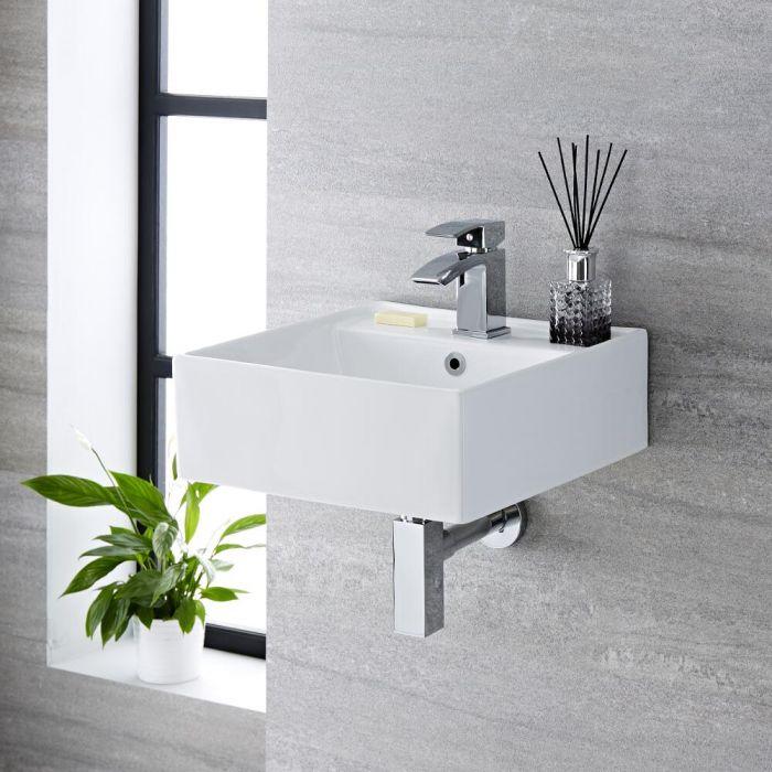 Milano Dalton - White Modern Square Wall Hung Basin - 400mm x 400mm (1 Tap-Hole)