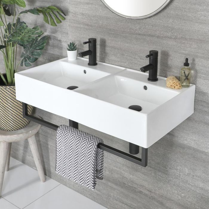 Milano Elswick - White Modern 820mm x 420mm Rectangular Double Wall Hung Basin with Black Towel Rail