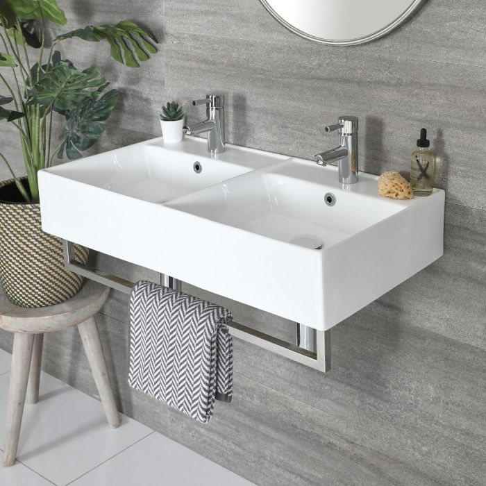 Milano Elswick - White Modern 820mm x 420mm Rectangular Double Wall Hung Basin with Chrome Towel Rail