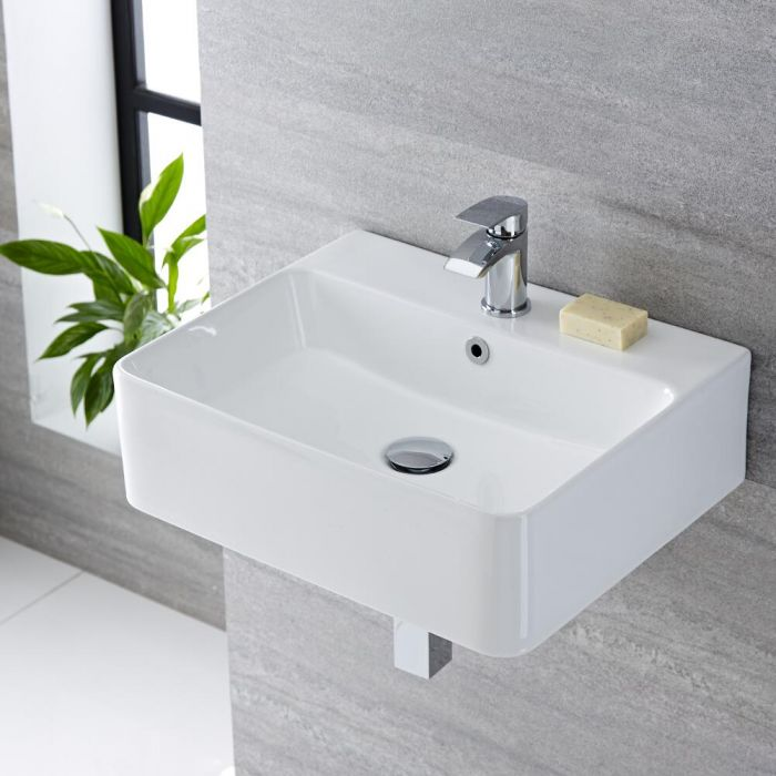 Milano Farington - White Modern Rectangular Wall Hung Basin - 520mm x 420mm (1 Tap-Hole)