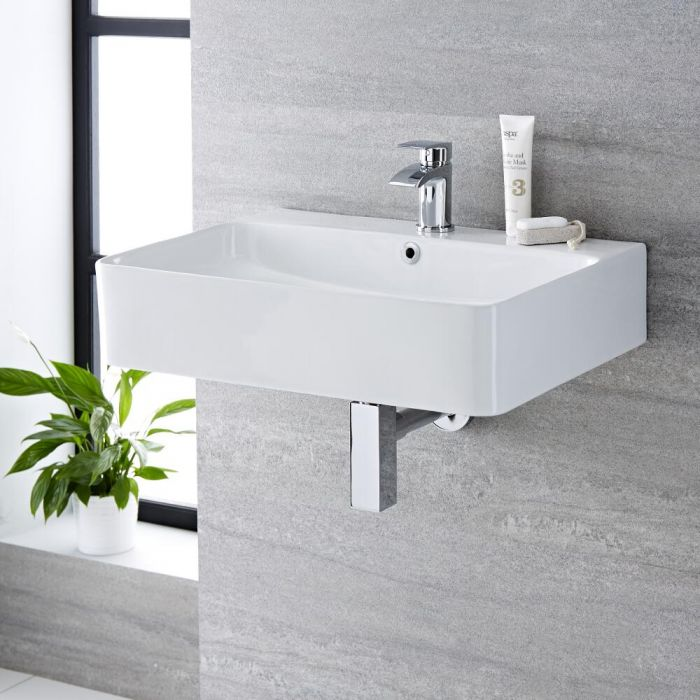 Milano Farington - White Modern Rectangular Wall Hung Basin - 600mm x 420mm (1 Tap-Hole)