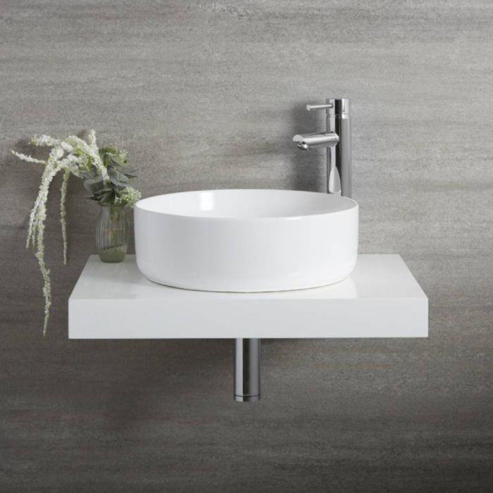 Milano Art - White Modern Round Countertop Basin - 395mm (No Tap-Holes)