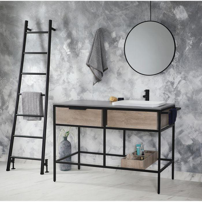 Milano Nero Stamford - 1200mm Black and Light Oak Washstand Vanity Unit with Basin