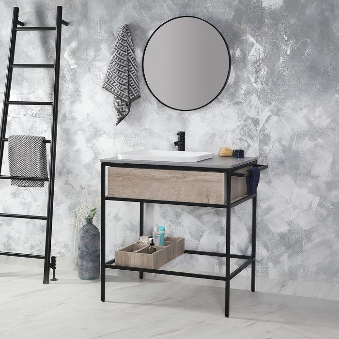 Milano Nero Stamford - 800mm Black and Light Oak Washstand with Basin