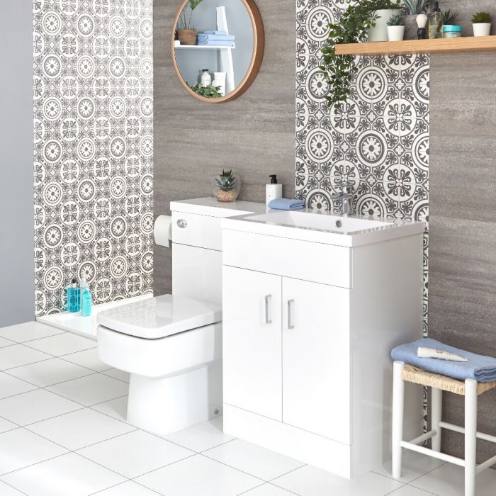 Milano Ren - White Modern Right-Hand Vanity and WC Combination Unit with Ballam Toilet and Cistern