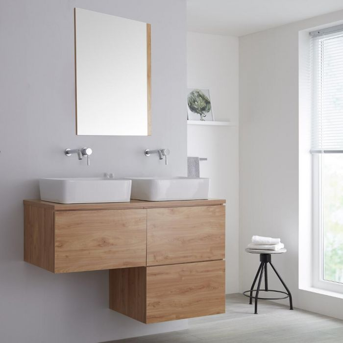 Milano Oxley - Golden Oak L-Shape 1200mm Wall Hung Vanity Unit with 2 Countertop Basins