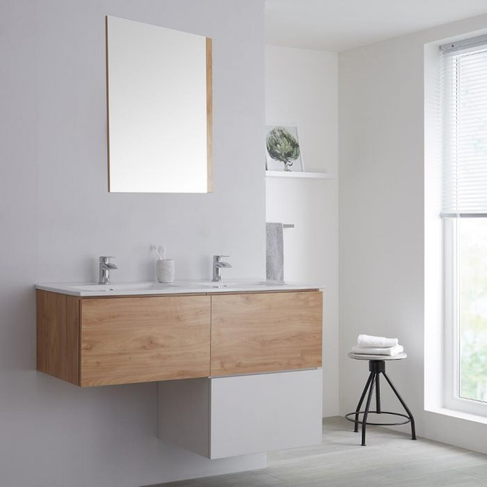Milano Oxley - Oak and White L-Shape 1200mm Wall Hung Vanity Unit with Double Basin
