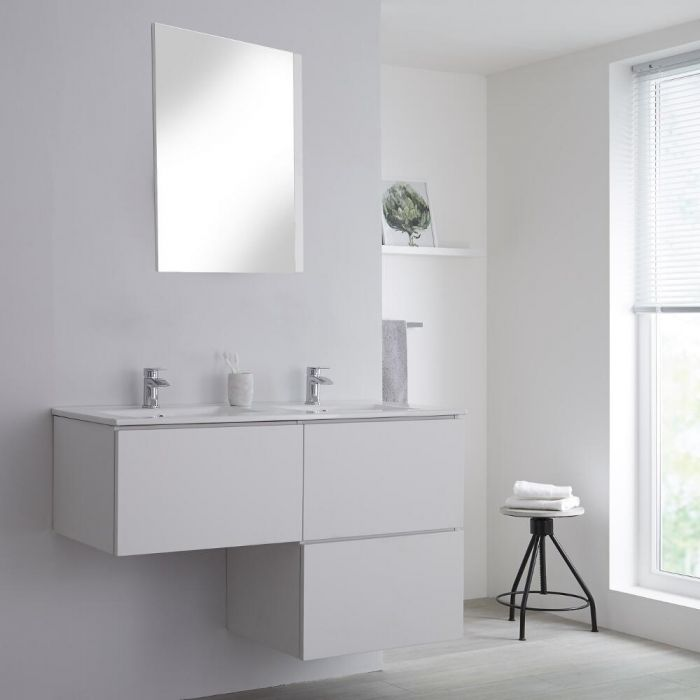 Milano Oxley - White L-Shape 1200mm Wall Hung Vanity Unit with Double Basin