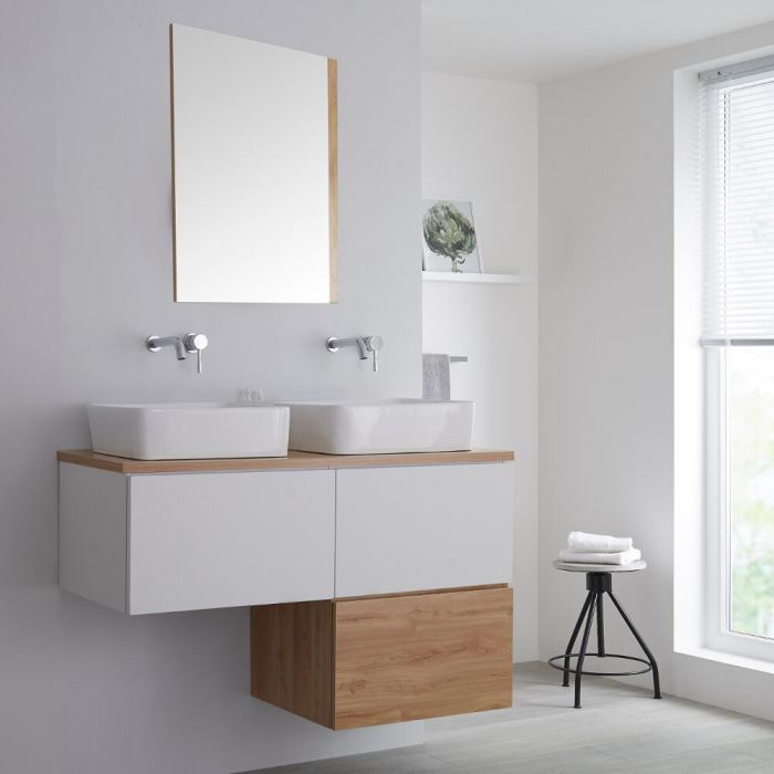 Milano Oxley - White and Golden Oak L-Shape 1200mm Wall Hung Vanity Unit with Countertop Basins