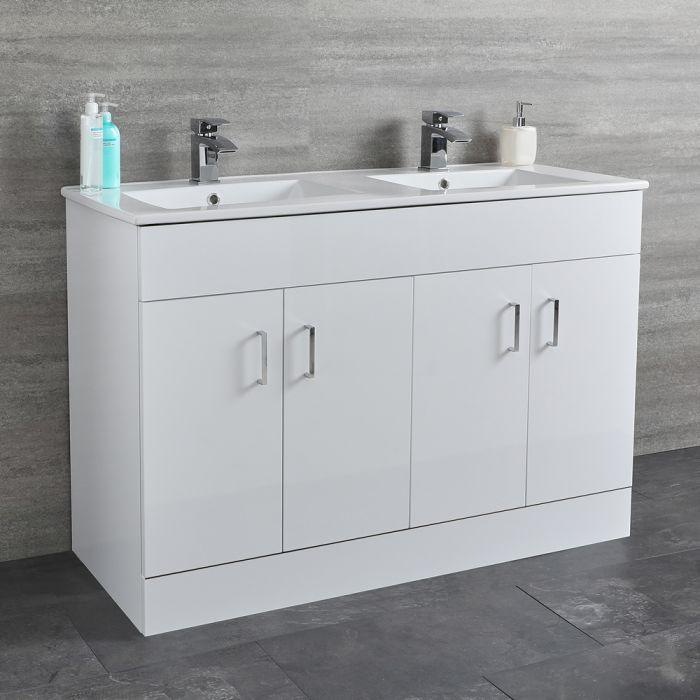 Milano Ren - White 1200mm Floor Standing Vanity Unit with Double Basin