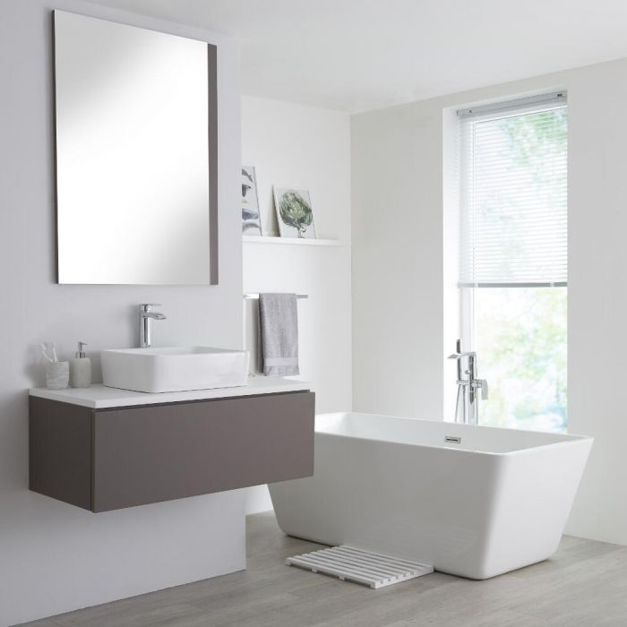 Milano Oxley - Grey and White 1000mm Wall Hung Vanity Unit with Countertop Basin