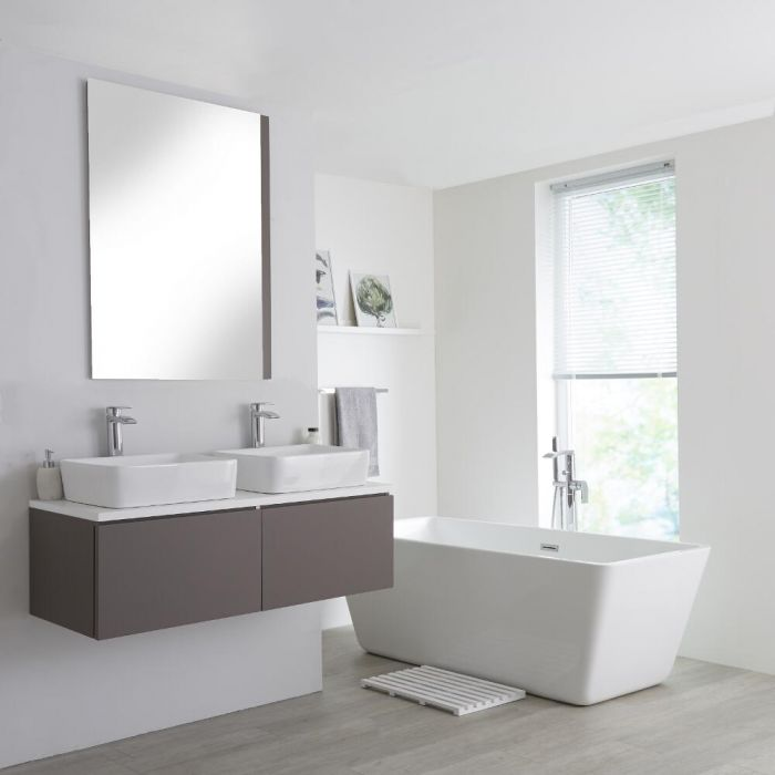 Milano Oxley - Grey and White 1200mm Wall Hung Vanity Unit with Countertop Basins