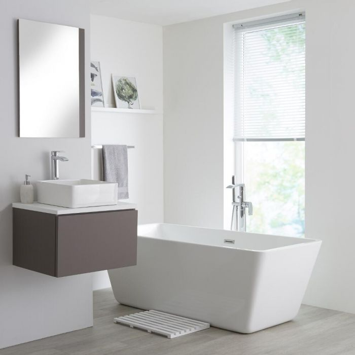 Milano Oxley - Grey and White 600mm Wall Hung Vanity Unit with Top and Countertop Basin
