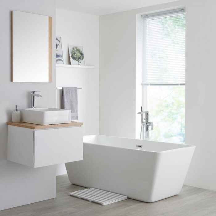 Milano Oxley - White and Golden Oak 600mm Wall Hung Vanity Unit with Countertop Basin
