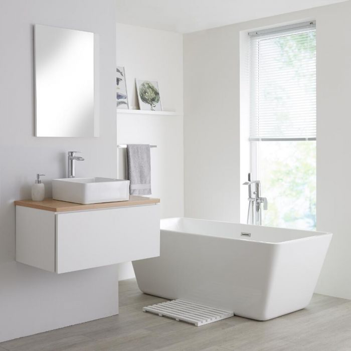 Milano Oxley - White and Golden Oak 800mm Wall Hung Vanity Unit with Countertop Basin