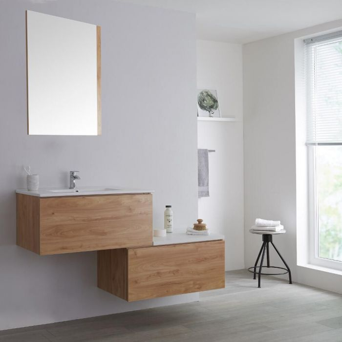 Milano Oxley - Oak 1400mm Wall Hung Stepped Vanity Unit with Basin