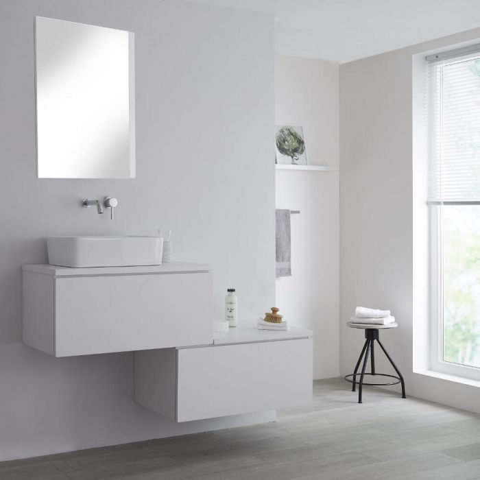 Milano Oxley - White 1400mm Wall Hung Stepped Vanity Unit with Countertop Basin