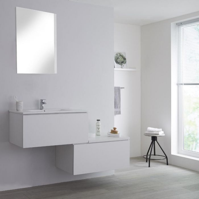 Milano Oxley - White 1400mm Wall Hung Stepped Vanity Unit with Basin