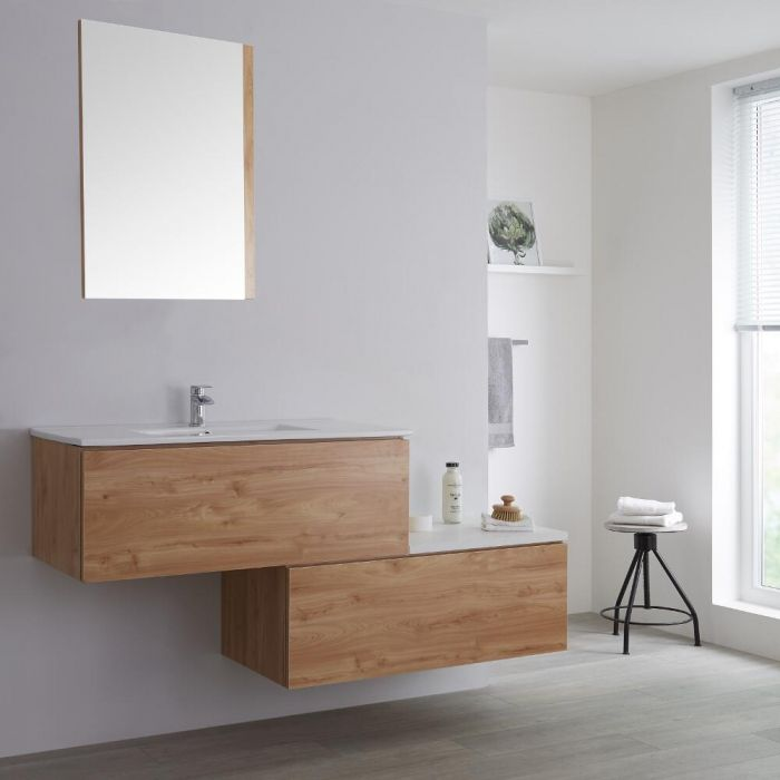 Milano Oxley - Oak 1600mm Wall Hung Stepped Vanity Unit with Basin