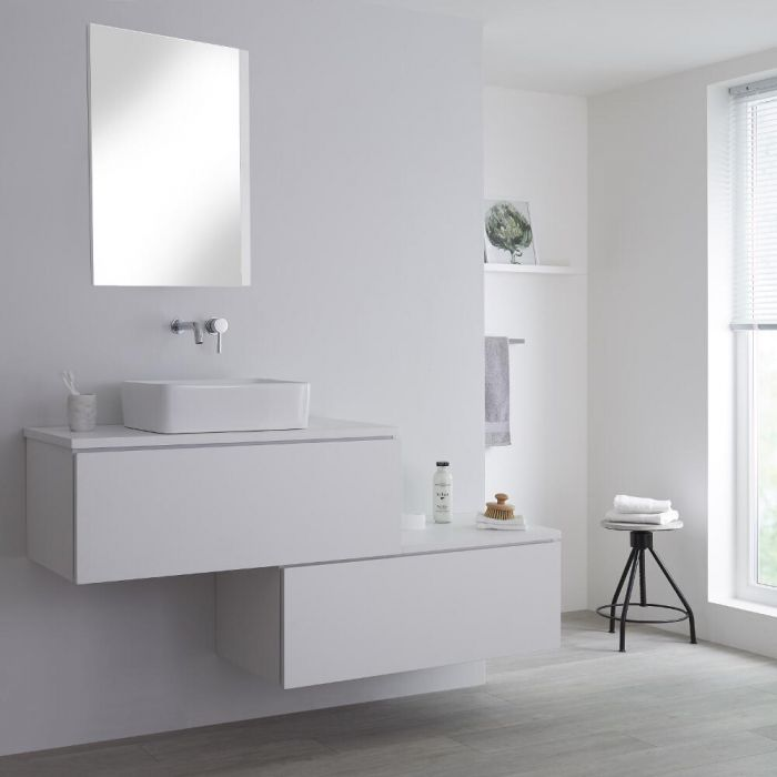 Milano Oxley - White 1600mm Wall Hung Stepped Vanity Unit with Countertop Basin