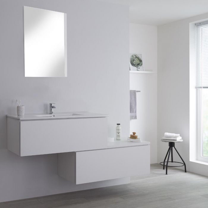 Milano Oxley - White 1600mm Wall Hung Stepped Vanity Unit with Basin