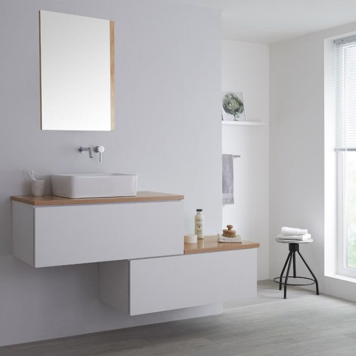 Milano Oxley - White and Golden Oak 1600mm Wall Hung Stepped Vanity Unit with Countertop Basin