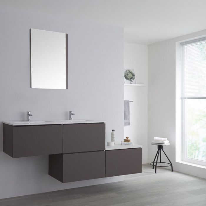 Milano Oxley - Grey 1800mm Wall Hung Stepped Vanity Unit with Basin