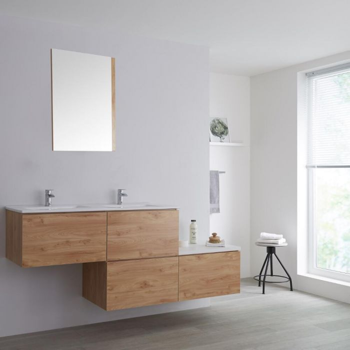 Milano Oxley - Oak 1800mm Wall Hung Stepped Vanity Unit with Basin