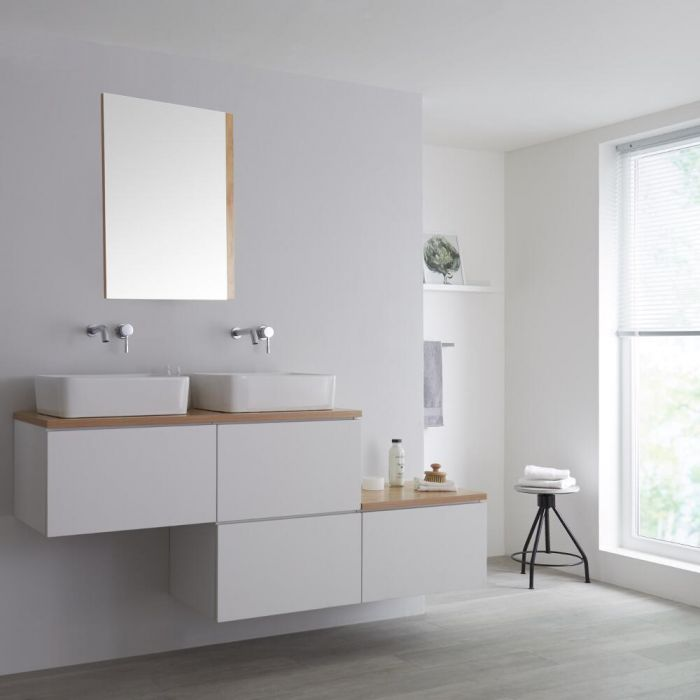 Milano Oxley - White and Oak 1800mm Wall Hung Stepped Vanity Unit with Countertop Basin