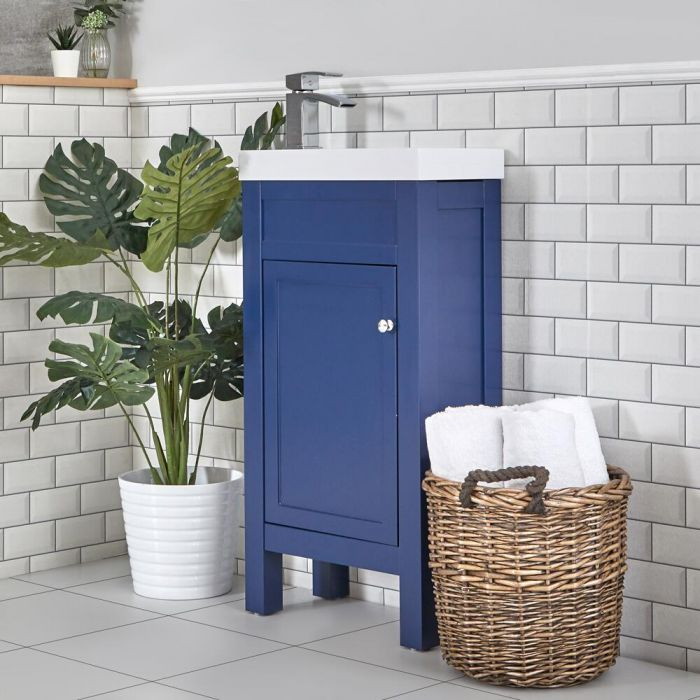 Milano Aston - Navy 440mm Traditional Cloakroom Vanity Unit with Basin