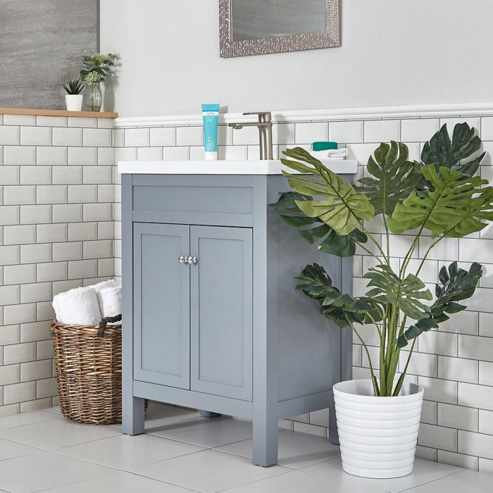 Milano Aston - Light Grey 600mm Traditional Vanity Unit with Basin