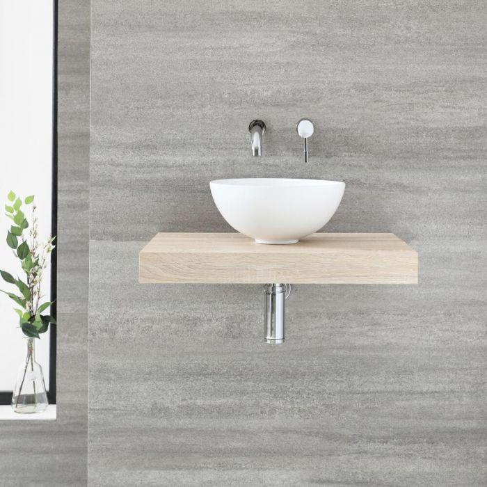 Milano Lurus - 600mm Floating Shelf and Irwell Countertop Basin - Oak