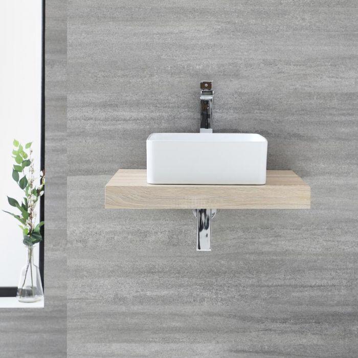 Milano Lurus - 600mm Floating Shelf and Rivington Countertop Basin - Oak