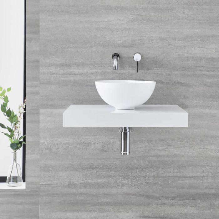 Milano Lurus - 600mm Floating Shelf and Irwell Countertop Basin - White