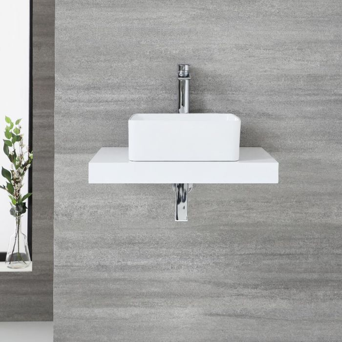 Milano Lurus - 600mm Floating Shelf and Rivington Countertop Basin - White