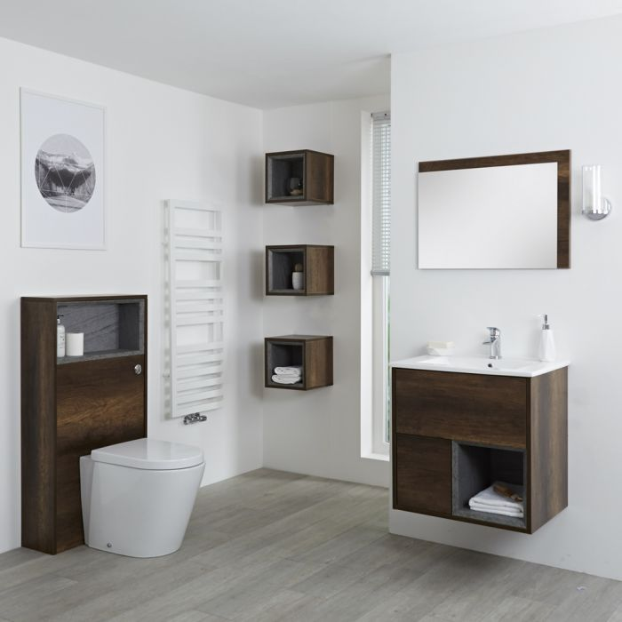 Milano Bexley - Dark Oak Modern 600mm Vanity Unit, WC unit, Pan, Three Storage Units and Mirror