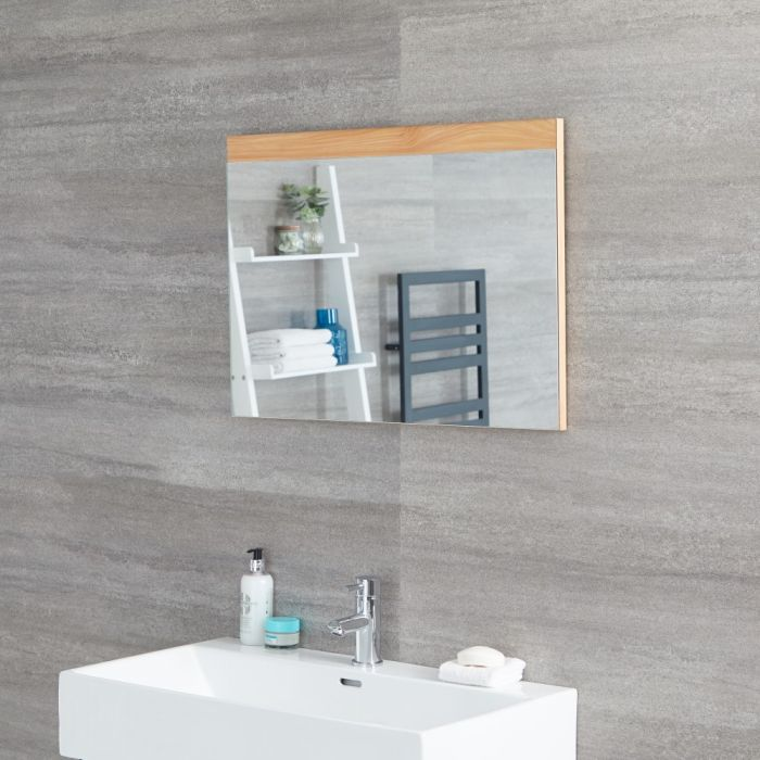 Milano Oxley - Golden Oak Modern Wall Hung Mirror - 700mm x 500mm