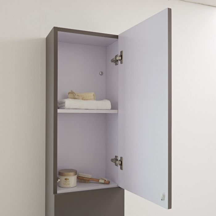 Milano Oxley - Grey Modern Wall Hung Closed Storage Unit - 350mm x 1500mm