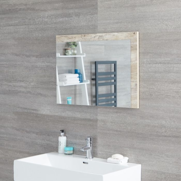 Milano Bexley - Light Oak Modern Wall Hung Mirror - 700mm x 500mm